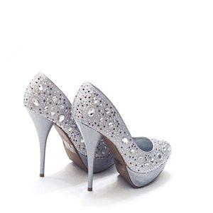 Bling Silver Bejeweled / Rhinestone Platform Heels